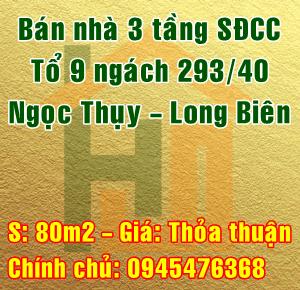 Bán nhà Quận Long Biên, Số 9A tổ 9 ngách 293/40 Ngọc Thụy
