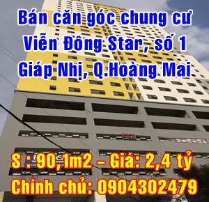 Bán căn góc chung cư Viễn Đông Star, số 1 Giáp Nhị, Quận Hoàng Mai, Hà Nội