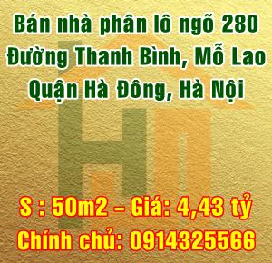 Bán nhà Quận Hà Đông, số 19 ngõ 280 đường Thanh Bình, phường Mỗ Lao