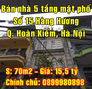 Bán nhà mặt phố số 15 Hàng Hương, Phường Hàng Mã, Hoàn Kiếm, Hà Nội