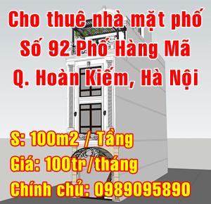 Cho thuê nhà mặt phố số 92 Hàng Mã, Phường Hàng Mã, Quận Hoàn Kiếm, Hà Nội