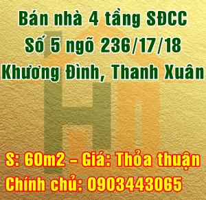 Bán nhà Quận Thanh Xuân, Số 5 ngõ 236/17/18 đường Khương Đình