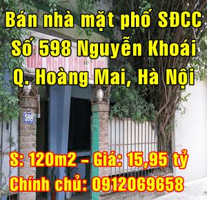 Bán nhà mặt đường 598 Nguyễn Khoái, Phường Vĩnh Hưng, Quận Hoàng Mai, Hà Nội