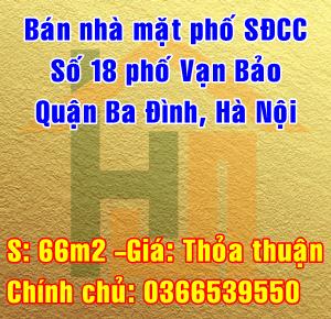 Bán nhà mặt phố 18 Vạn Bảo, phường Liễu Giai, Quận Ba Đình, Hà Nội