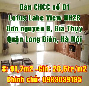 Chính chủ bán căn hộ số 01-Lotus Lake View HH2B Đơn Nguyên B, Gia Thụy, Quận Long Biên