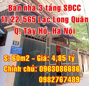 Bán nhà số 11/22/565 Lạc Long Quân, Phường Xuân La, Quận Tây Hồ, Hà Nội