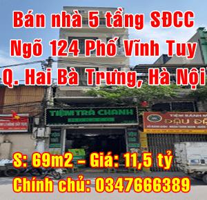 Chính chủ bán nhà Quận Hai Bà Trưng, Số 22 ngõ 124 Phố Vĩnh Tuy