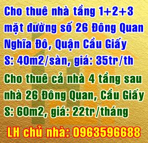 Cho thuê nhà 26 đường Đông Quan, Nghĩa Đô, Quận Cầu Giấy