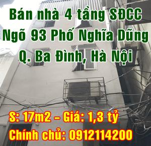 Bán nhà Quận Ba Đình, số 5 ngách 93/58 ngõ 93 phố Nghĩa Dũng, phường Phúc Xá