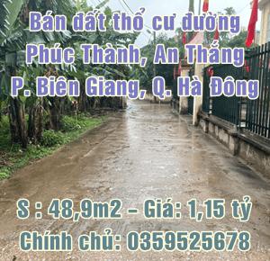 Bán đất thổ cư đường Phúc Thành, An Thắng, Biên Giang, Hà Đông