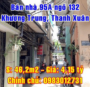 Bán nhà số 95A ngõ 132 phố Khương Trung, Quận Thanh Xuân, Hà Nội