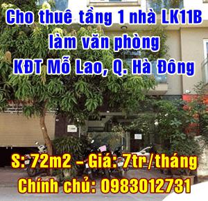 Cho thuê tầng 1 làm văn phòng nhà liền kề số 15-LK11B, KĐT Mỗ Lao, Hà Đông