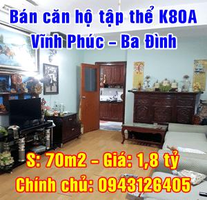 Bán căn hộ tập thể K80A Vĩnh Phúc, Quận Ba Đình