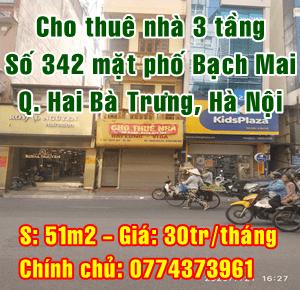 Cho thuê nhà 3 tầng mặt phố 342 Bạch Mai, Quận Hai Bà Trưng, Hà Nội
