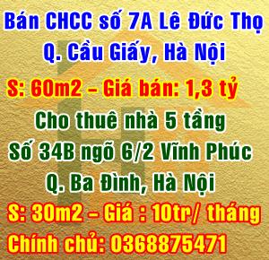 Cần bán căn hộ chung cư số 7A đường Lê Đức Thọ, Quận Cầu Giấy, Hà Nội