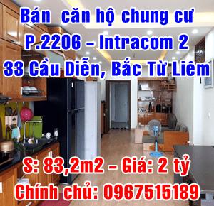 Bán căn hộ P2206 tòa Intracom 2, số 33 Cầu Diễn, Quận Bắc Từ Liêm