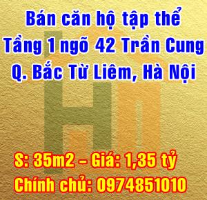 Bán căn hộ tầng 1 tập thể Địa Chất ngõ 42 Trần Cung, Quận Bắc Từ Liêm, Hà Nội