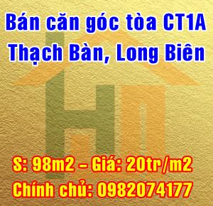 Bán căn góc chung cư tòa CT1A Thạch Bàn, Quận Long Biên, Hà Nội