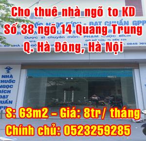 Cho thuê nhà chính chủ mặt ngõ to kinh doanh Quận Hà Đông