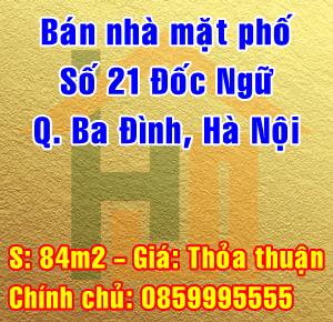 Bán nhà mặt phố số 21 Đốc Ngữ, Phường Vĩnh Phúc, Quận Ba Đình, Hà Nội