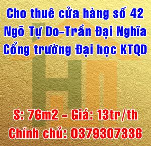 Cho thuê cửa hàng 42 Ngõ Tự Do - Trần Đại Nghĩa, Hai Bà Trưng