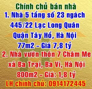 Bán nhà chính chủ số 23 ngách 445/22 Lạc Long Quân, Quận Tây Hồ