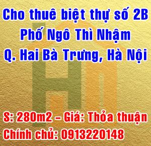 Cho thuê biệt thự số 2B phố Ngô Thì Nhậm, Quận Hai Bà Trưng, Hà Nội