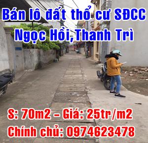 Chính chủ cần bán lô đất tại Xã Ngọc Hồi, Huyện Thanh Trì, Hà Nội