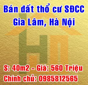 Chính chủ cần bán đất thổ cư tại Phù Đổng, Gia Lâm, Hà Nội