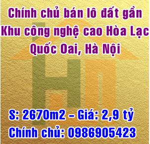 Cần bán gấp lô đất gần khu công nghệ cao Hòa Lạc, Huyện Quốc Oai, Hà Nội