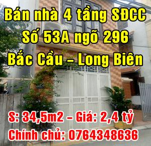 Bán nhà số 53A ngõ 296 Bắc Cầu, Phường Ngọc Thụy, Quận Long Biên, Hà Nội