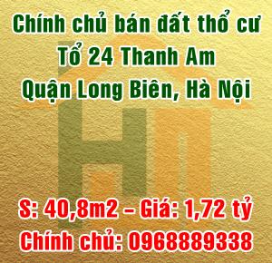 Chính chủ bán đất thổ cư tổ 24 Thanh Am, Thượng Thanh, Long Biên