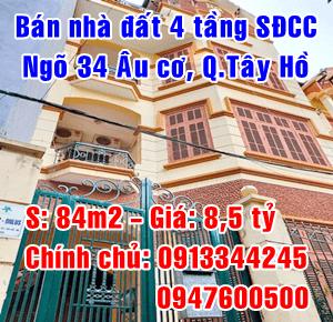 Chính chủ bán nhà đất ngõ 34, Âu Cơ, Tây Hồ, Hà Nội