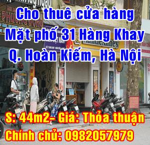 Cho thuê cửa hàng mặt phố 31 Hàng Khay, Hoàn Kiếm, Hà Nội