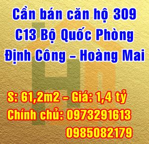 Bán căn chung cư C13 Bộ Quốc Phòng, ngõ 99 Định Công Hạ, Quận Hoàng Mai