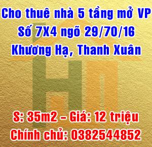 Chính chủ cho thuê nhà số 7x4 ngõ 29/70/16 Khương Hạ, Quận Thanh Xuân
