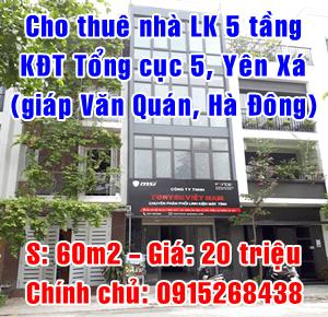 Cho thuê nhà Liền kể 4,5 tầng tại khu đô thị Tổng cục 5, Yên Xá, Hà Đông