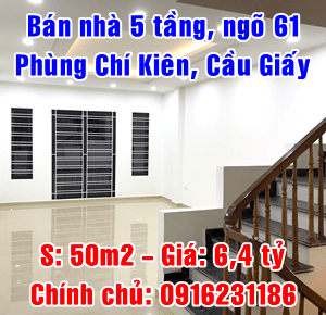 Chính chủ bán nhà ngõ 61 Phùng Chí Kiên, Quận Cầu Giấy, Hà Nội