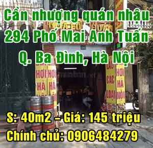 Sang nhượng lại quán nhậu tại 294 phố Mai Anh Tuấn, Quận Ba Đình