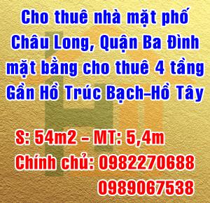 Cho thuê nhà mặt phố Châu Long, phường Trúc Bạch, Quận Ba Đình