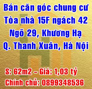 Bán căn góc chung cư tòa nhà 15F ngách 42 ngõ 29 Khương Hạ, Quận Thanh Xuân