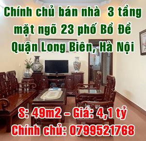 Chính chủ bán nhà mặt ngõ 23 phố Bồ Đề, Long Biên, Hà Nội