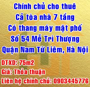 Chính chủ cho thuê nhà mặt phố số 54 Mễ Trì Thượng, Quận Nam Từ Liêm, Hà Nội