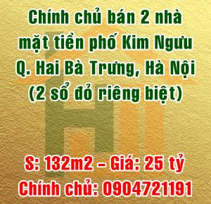 Chính chủ bán nhà mặt tiền phố Kim Ngưu, Quận Hai Bà Trưng