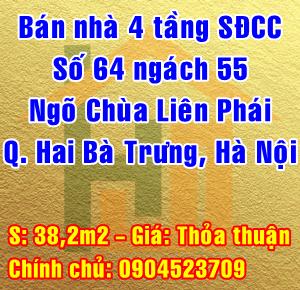 Bán nhà chính chủ ngõ Chùa Liên Phái, Phố Bạch Mai, Phường Cầu Dền, Quận Hai Bà Trưng