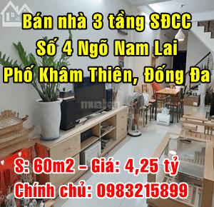 Bán nhà trong ngõ Nam Lai, Phố chợ Khâm Thiên, Quận Đống Đa, Hà Nội