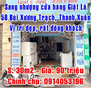 Chính chủ sang nhượng cửa hàng giặt là 58 Bùi Xương Trạch, Thanh Xuân
