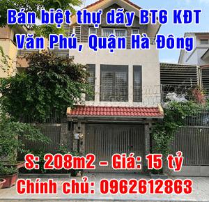 Chính chủ bán biệt thự khu đô thị Văn Phú, dãy BT6, Quận Hà Đông