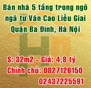 Bán nhà 32m2 x 5 tầng, ngã tư Văn Cao Liễu Giai, Ba Đình, ngõ 4m