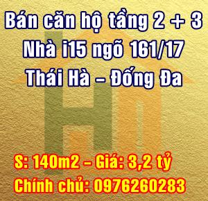 Bán căn hộ tầng 2+3 nhà i15, ngõ 161/17 Thái Hà, Quận Đống Đa, Hà Nội
